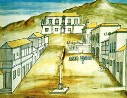 Tela que retrata a cidade de Vila Rica