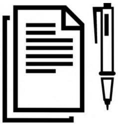 Papel da declaração e caneta