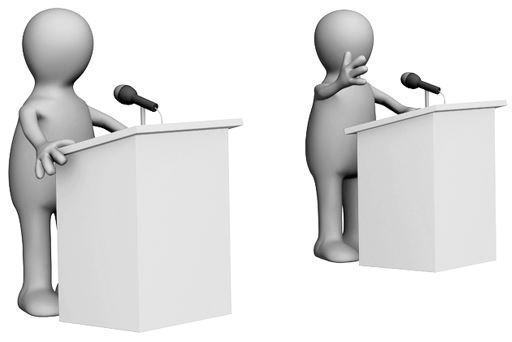 2 pessoas participando de um debate.