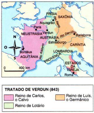 Mapa do império após o Tratado de Verdun
