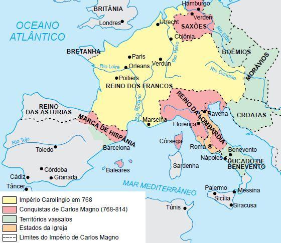 Mapa do Império Carolíngio.