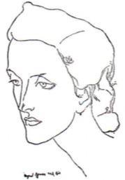Desenho do rosto de Cecília Meireles