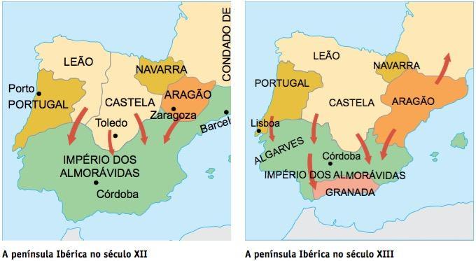 Mapa que explica a formação de Portugal