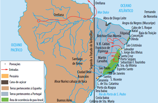 Mapa do povoamento brasileiro