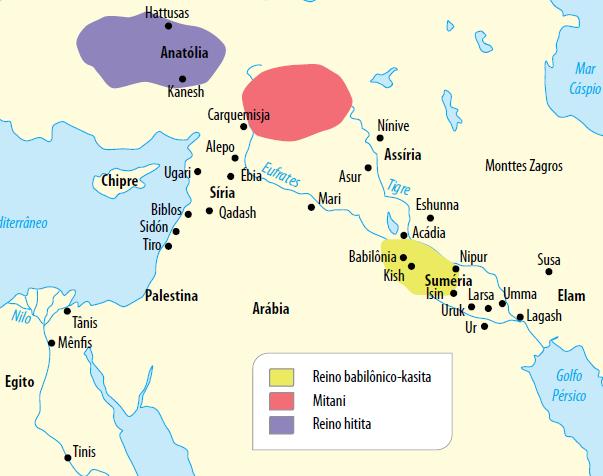 Mapa com as primeiras cidades.