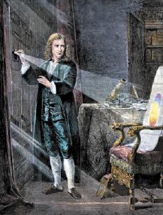 Newton estudou a cor da luz.