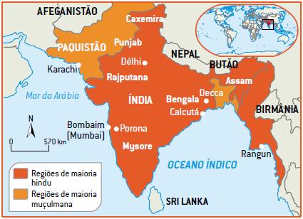 Mapa da descolonização da Índia
