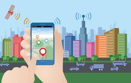 Imagem de um mapa no celular propiciado pelo sensoriamento remoto.