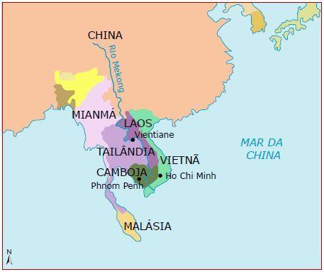 Mapa da indochina dividida.