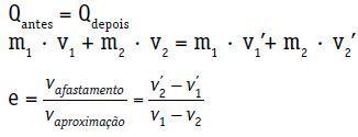 Fórmula da colisão mecânica.
