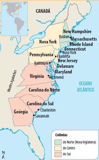 Mapa das Treze Colônias dos EUA.