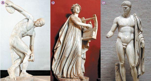 Esculturas da arte grega.