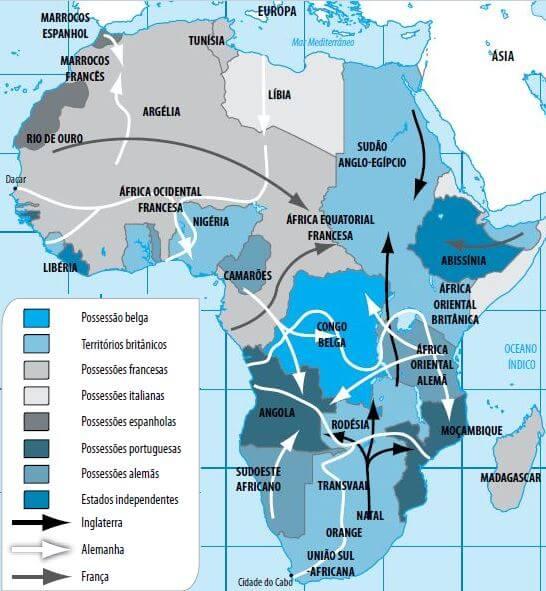 Mapa da partilha da África.
