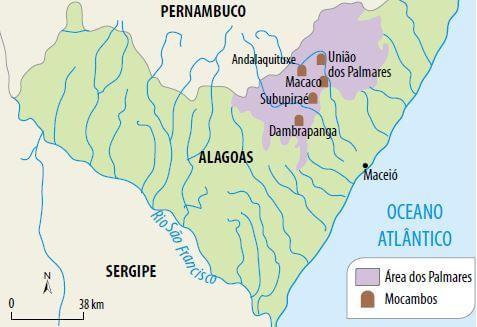 Localização do Quilombo de Palmares.