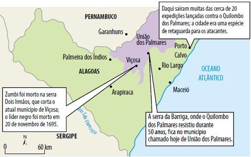 Mapa onde foi travada a Guerra dos Palmares.