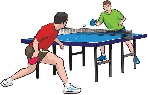 Imagem mostrando duas pessoas jogando tênis de mesa.