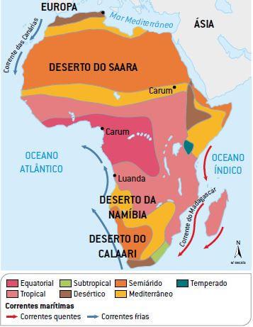 Mapa climático do continente africano.