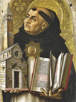 Imagem de São Tomás segurando uma réplica de uma igreja em uma mão e a bíblia em outra.