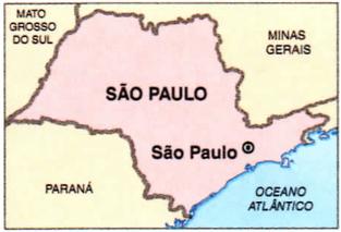 Mapa do estado de São Paulo.