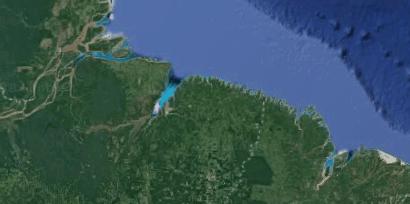 Imagem por satélite do litoral equatorial amazônico brasileiro.