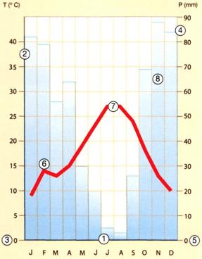 Gráfico de Climograma.