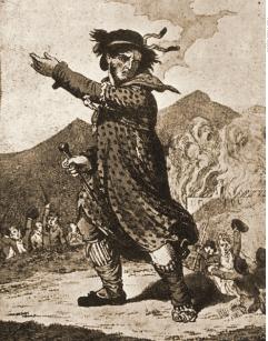 Desenho de Ned Ludd, líder do movimento social luddista.
