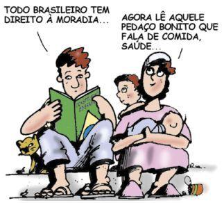 Charge criticando os direitos humanos no Brasil.