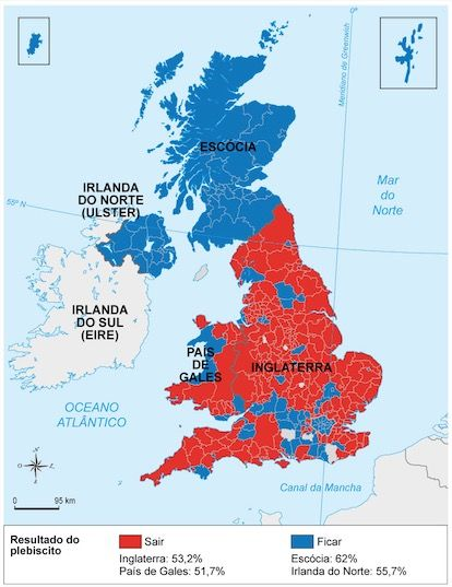 Mapa do Reino Unido e as escolhas do Brexit.