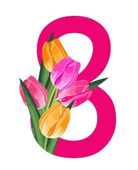 Número 8 rodeado de flores.