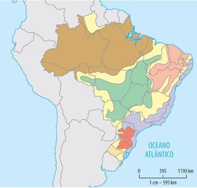 Mapa do Brasil com as faixas de transição.