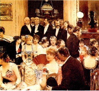 Pintura de alusão aos salões de Paris na época da obra Em busca do tempo perdido.