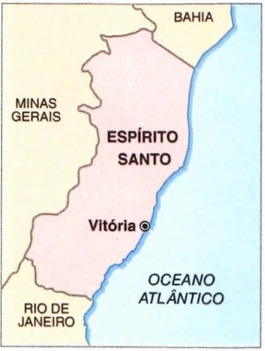 Mapa do estado do Espírito Santo.