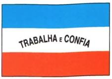 A bandeira do Espírito Santo é azul, branca e vermelha com os dizeres: trabalha e confia.