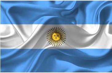 Bandeira da Argentina em azul e branco e um sol no meio.