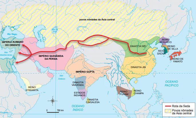 Mapa do caminho da rota da seda.