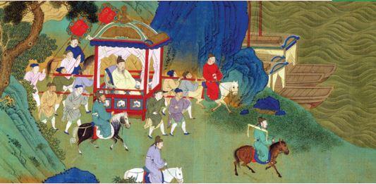 Pintura de um imperador chinês sendo carregado em uma liteira.