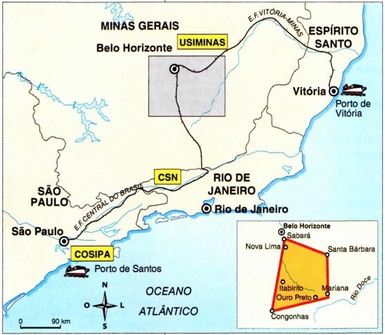 Mapa com a localização do quadrilátero ferrífero em Minas Gerais.