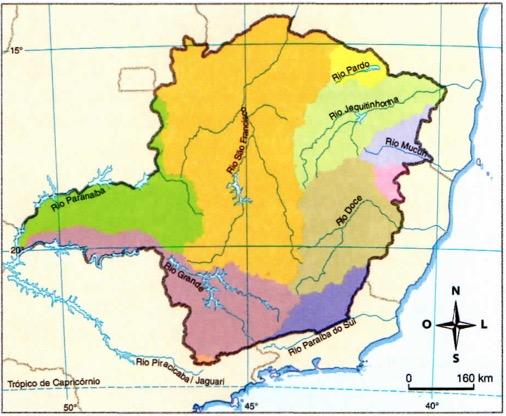 Mapa com a relação de rios de Minas Gerais.
