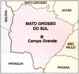 Mapa do Mato Grosso do Sul.