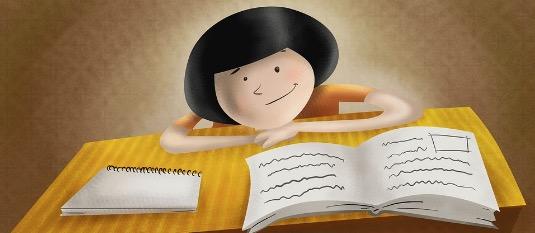 Desenho de uma menina apresentando uma redação.