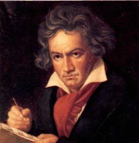 Retrato de Beethoven escrevendo uma nota musical.