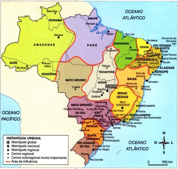 Mapa do Brasil com suas metrópoles e centros regionais.