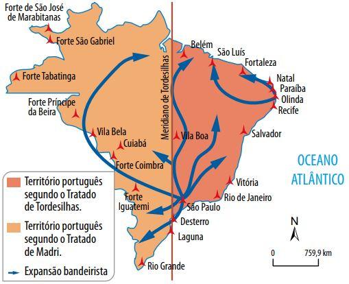 Mapa do Brasil colonial mostrando as expansões após o Tratado de Madri.