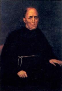 Retrato de frei Francisco de Mont'Alveme sentado e vestindo uma túnica preta.