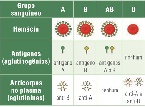 Tabela de grumos sanguíneos do sistema ABO