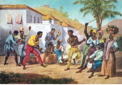 Pintura representando uma dança de capoeira.