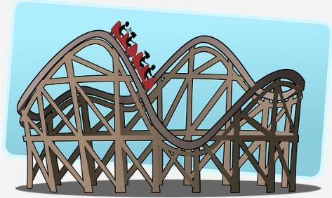 Desenho de uma montanha-russa.