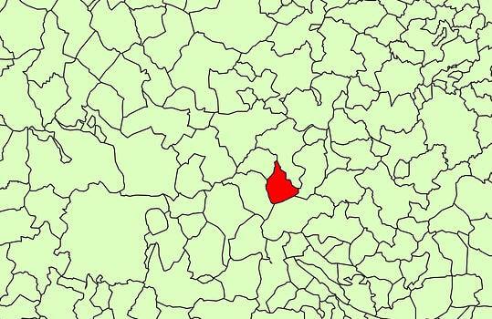 Mapa com vários territórios de municípios.