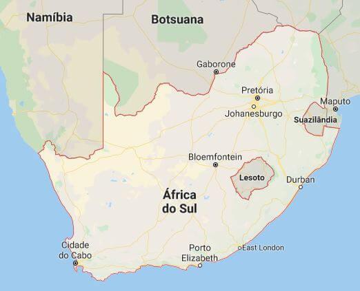 Mapa da África do Sul.
