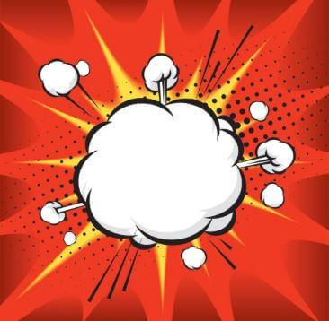 Desenho que representa uma explosão típica das histórias em quadrinhos.